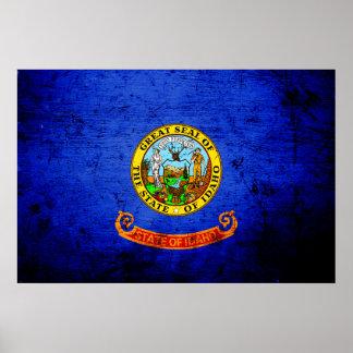 Black Grunge Idaho State Flag Poster