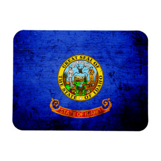 Black Grunge Idaho State Flag Rectangle Magnets