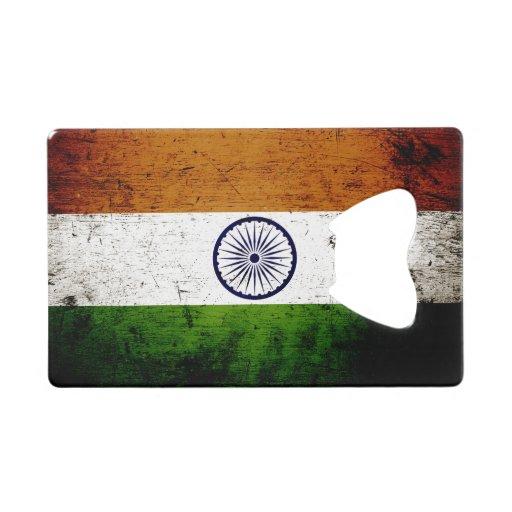 black grunge india flag credit card bottle opener zazzle. Black Bedroom Furniture Sets. Home Design Ideas