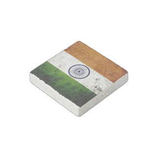 Black Grunge India Flag Stone Magnet