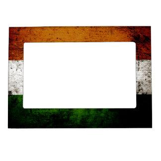 Black Grunge India Flag Magnetic Frame