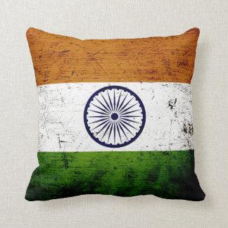 Black Grunge India Flag Throw Pillow