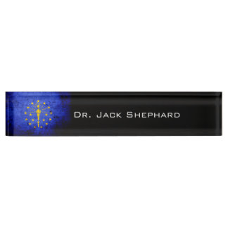 Black Grunge Indiana State Flag Nameplate