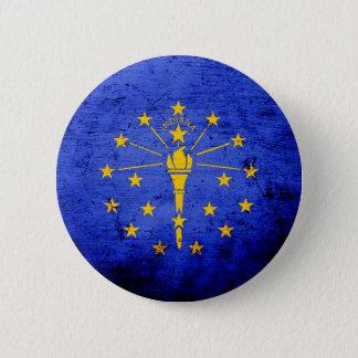 Black Grunge Indiana State Flag Pinback Button