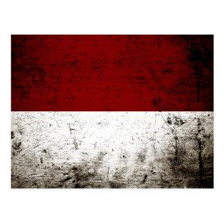 Black Grunge Indonesia Flag Postcard