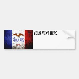 Black Grunge Iowa State Flag Bumper Sticker