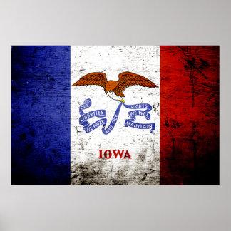 Black Grunge Iowa State Flag Posters