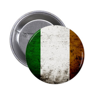 Black Grunge Ireland Flag Pinback Button