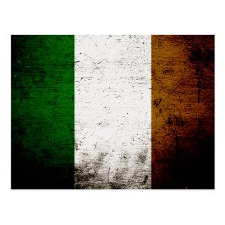 Black Grunge Ireland Flag Postcard