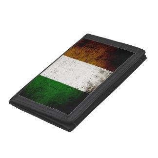 Black Grunge Ireland Flag Tri-fold Wallet