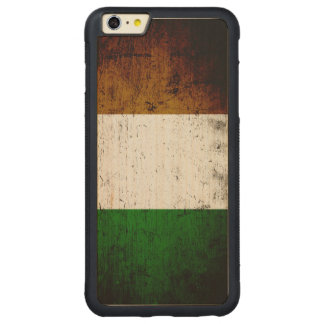 Black Grunge Ireland Flag Carved® Maple iPhone 6 Plus Bumper