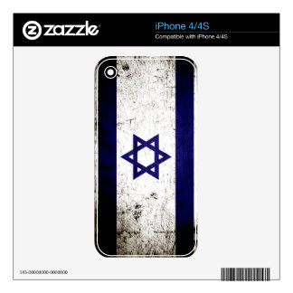 Black Grunge Israel Flag Decal For iPhone 4S