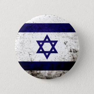 Black Grunge Israel Flag Pinback Button