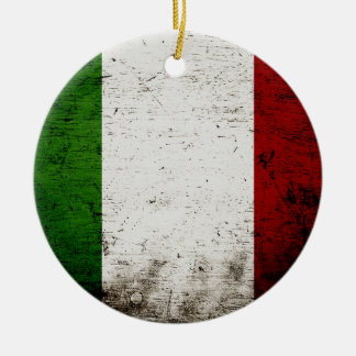 Black Grunge Italy Flag Ceramic Ornament
