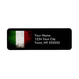 Black Grunge Italy Flag Return Address Labels