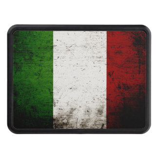 Black Grunge Italy Flag Tow Hitch Cover