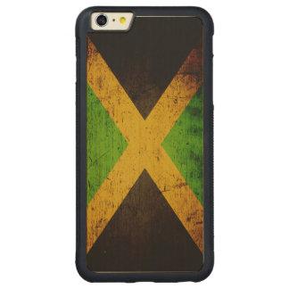 Black Grunge Jamaica Flag Carved® Maple iPhone 6 Plus Bumper