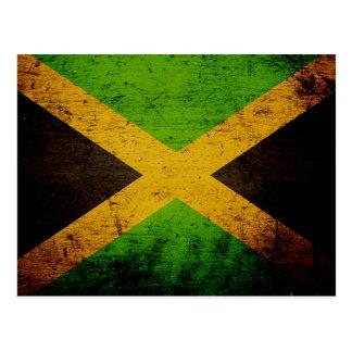 Black Grunge Jamaica Flag Postcard