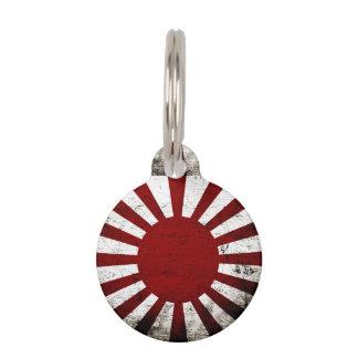 Black Grunge Japan Rising Sun Flag Pet ID Tag