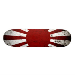 Black Grunge Japan Rising Sun Flag Skateboard Deck