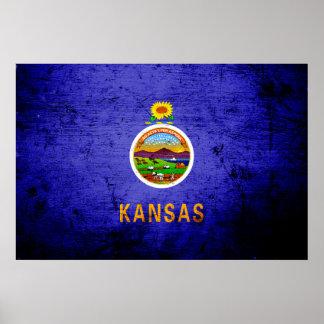 Black Grunge Kansas State Flag Poster