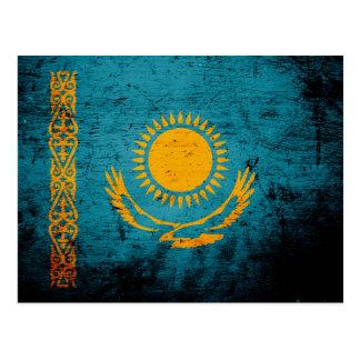 Black Grunge Kazakhstan Flag Post Card
