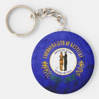 Black Grunge Kentucky State Flag Basic Round Button Keychain