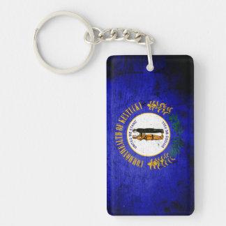 Black Grunge Kentucky State Flag Double-Sided Rectangular Acrylic Keychain