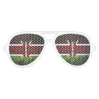 Black Grunge Kenya Flag Party Sunglasses