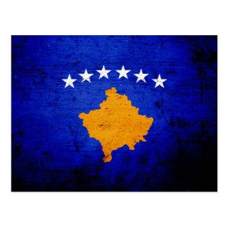 Black Grunge Kosovo Flag Post Card