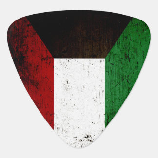 Black Grunge Kuwait Flag Guitar Pick