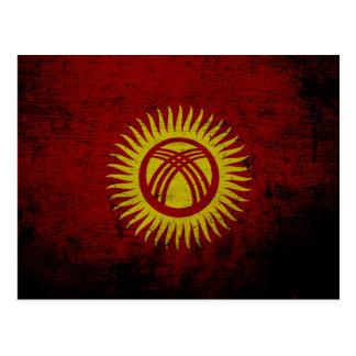 Black Grunge Kyrgyzstan Flag Postcard