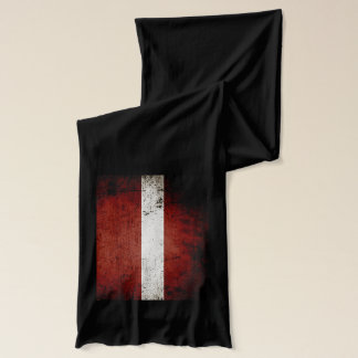 Black Grunge Latvia Flag Scarf