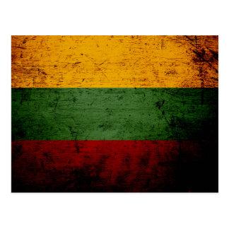 Black Grunge Lithuania Flag Postcard
