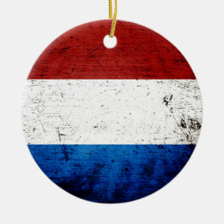 Black Grunge Luxembourg Flag Ceramic Ornament