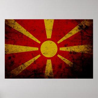 Black Grunge Macedonia Flag Poster