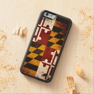 Black Grunge Maryland State Flag Carved Maple iPhone 6 Bumper Case