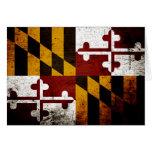Black Grunge Maryland State Flag Greeting Card