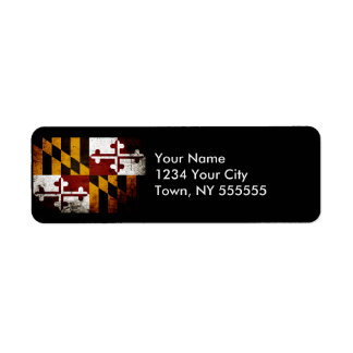 Black Grunge Maryland State Flag Label