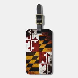Black Grunge Maryland State Flag Tags For Luggage