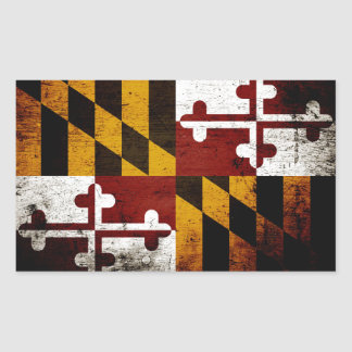 Black Grunge Maryland State Flag Rectangular Sticker