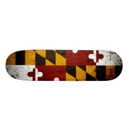 Black Grunge Maryland State Flag Skateboard Deck