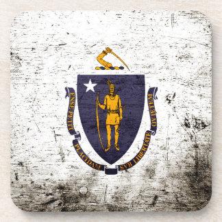 Black Grunge Massachusetts State Flag Beverage Coaster