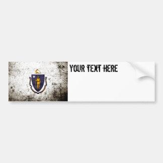 Black Grunge Massachusetts State Flag Bumper Sticker