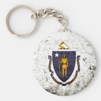 Black Grunge Massachusetts State Flag Keychain