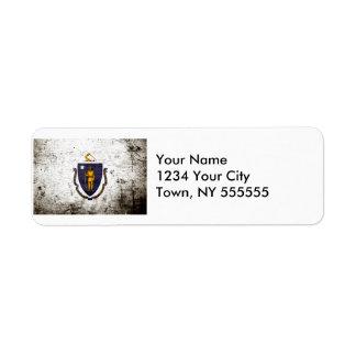 Black Grunge Massachusetts State Flag Return Address Label