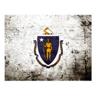 Black Grunge Massachusetts State Flag Postcard