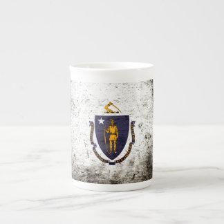 Black Grunge Massachusetts State Flag Tea Cup