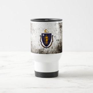 Black Grunge Massachusetts State Flag Travel Mug