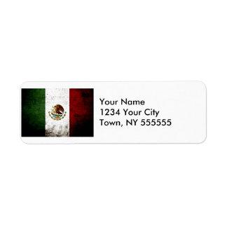 Black Grunge Mexico Flag Label
